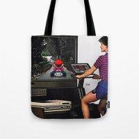 mario kart Tote Bags featuring Retro Mario Kart by Woah Jonny