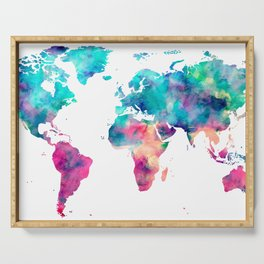 World Map Turquoise Pink Blue Green Serving Tray