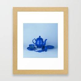 Blue tea party madness - still life Framed Art Print