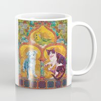 golden girls Mugs featuring Golden Temple of the Good Girls by Susan Carlson