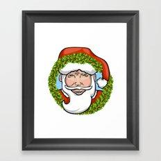 Santa Claus Wreath Framed Art Print