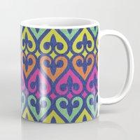 fleur de lis Mugs featuring Fleur De lis & Hearts by Arcturus