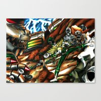 power ranger Canvas Prints featuring Legendary Green Power Ranger & Dragonzord by sn33ky