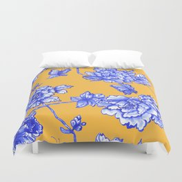 Chinoiserie Floral Golden Yellow Duvet Cover