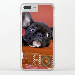 Licorice the Black Frenchie in Ho Ho Ho Christmas Basket Clear iPhone Case