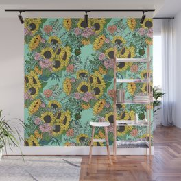Trendy yellow sunflowers and pink roses mint design Wall Mural