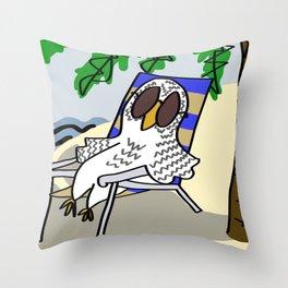 Beach Owl Throw Pillow