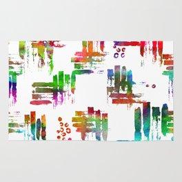 Rainbow brush on white Rug