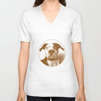 pit bull V-neck T-shirts featuring Pit Bull by George Peters