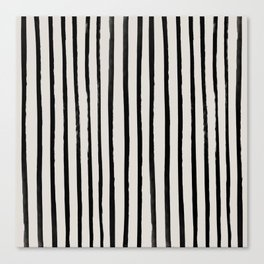 Vertical Black and White Watercolor Stripes Canvas Print