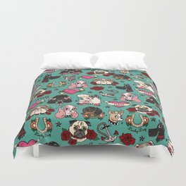 Tattoo Dogs Duvet Cover