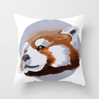 red panda Throw Pillows featuring panda by JuliaTara