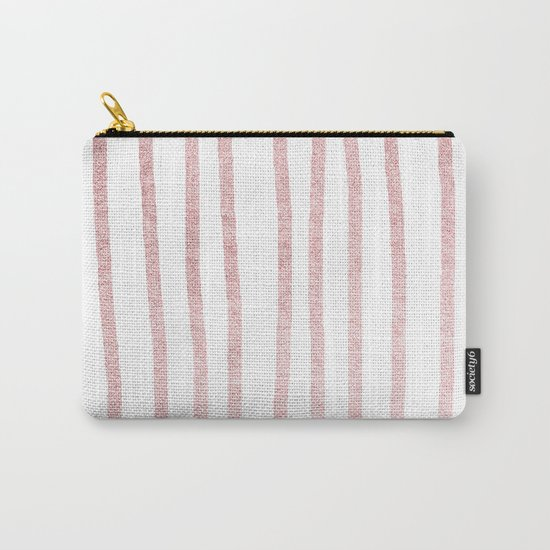 Simply Drawn Vertical Stripes in Rose Gold Sunset Carry-All Pouch