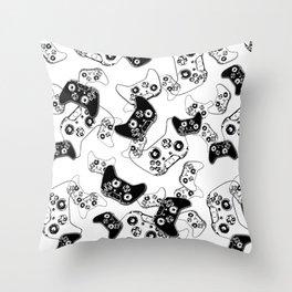 Video Game Black on White Throw Pillow