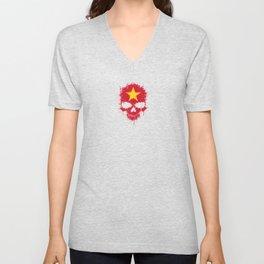 Flag of Vietnam on a Chaotic Splatter Skull Unisex V-Neck