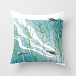 Otters Love Life Throw Pillow
