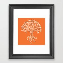 Tree of Life Orange Framed Art Print