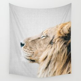 Lion Portrait - Colorful Wall Tapestry