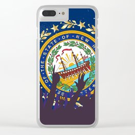 New Hampshire State Flag with Audience Clear iPhone Case