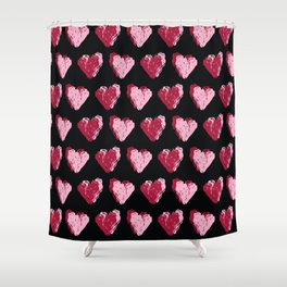 Red brush stroke textured love hearts Shower Curtain