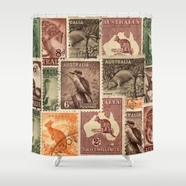 Vintage Australian Postage Stamps Collection Shower Curtain