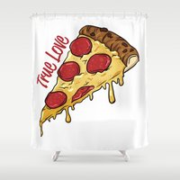 pizza Shower Curtains featuring Pizza by jeff'walker