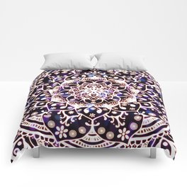 'Glowing Namaste' Blue Purple Pink White Mandala Comforters