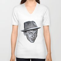frank sinatra V-neck T-shirts featuring FRANK SINATRA by Jahwan by JAHWAN