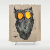 scary Shower Curtains featuring Scary owl by Bwiselizzy