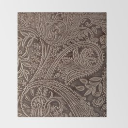 Cocoa Brown Tooled Leather Throw Blanket