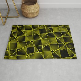 Mirrored gradient shards of curved yellow intersecting ribbons and dark lines. Rug