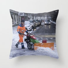 Ploughing the snow Throw Pillow