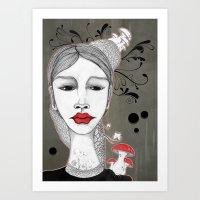 mushrooms Art Prints featuring Mushrooms by Teodoru Badiu
