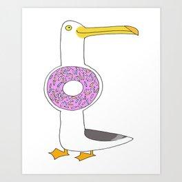 Seagull (doughnut) Art Print