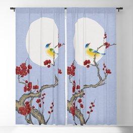 Plum blossoms, bird, and the moon Type F (Minhwa: Korean traditional/folk art) Blackout Curtain
