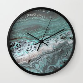 Teal Flow Abstract Acrylic Painting Wall Clock