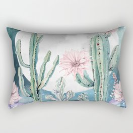 Desert Cactus Full Moon Succulent Garden Night Sky Stars Rectangular Pillow
