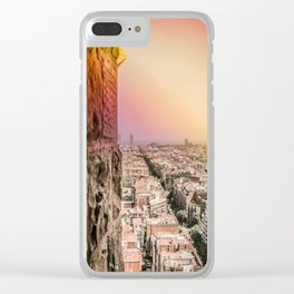 Colorful Rainbow View from Sagrada Familia over the Old City of Barcelona Clear iPhone Case