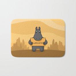 "Cute hand drawn Hippo with sign ""Hug me"" Bath Mat"