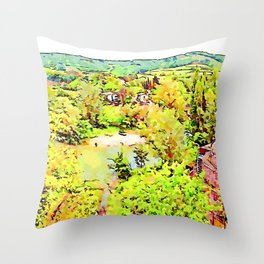 Fognano: landscape with river Throw Pillow