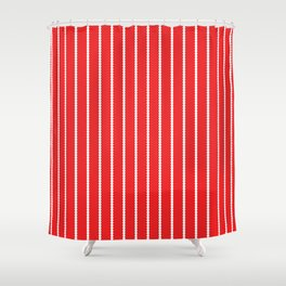 Holiday Hexies Red Stripe Shower Curtain