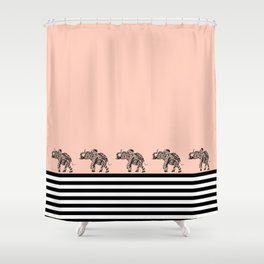 ELEPHANT & STRIPES CORAL Shower Curtain