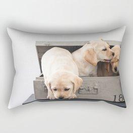 Labrador Puppies in a suitcase Rectangular Pillow