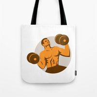 crossfit Tote Bags featuring Strongman Crossfit Lifting Dumbbells Circle Retro by patrimonio