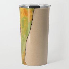 Egon Schiele - Male Nude, Propping Himself Up (1910) Travel Mug