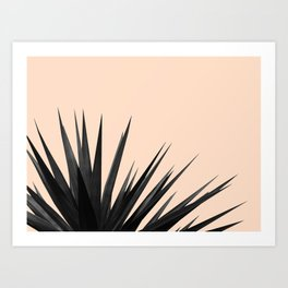 Black Palms on Pale Pink Art Print