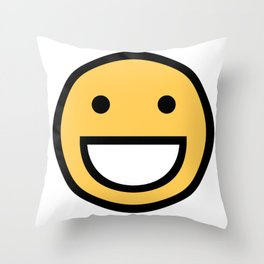 Smiley Face    Cute Simple Big Mouth Smiling Happy Face Throw Pillow
