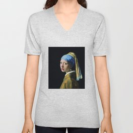 Jan Vermeer Girl With A Pearl Earring Baroque Art Unisex V-Neck