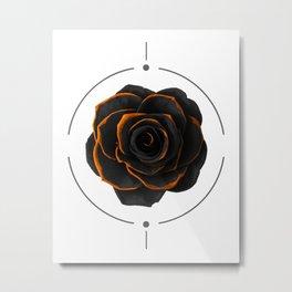 Black Rose - Black And Gold Rose - Death - Minimal Black And Gold Decor - Dark Metal Print
