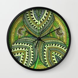 Patterned Shamrock Wall Clock